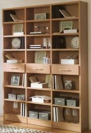 Librería en melamina de haya de 25 mm canteado pvc