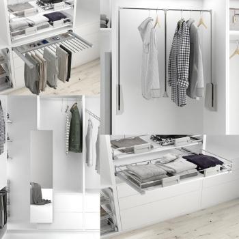 Complementos para vestidores e interiores de armarios