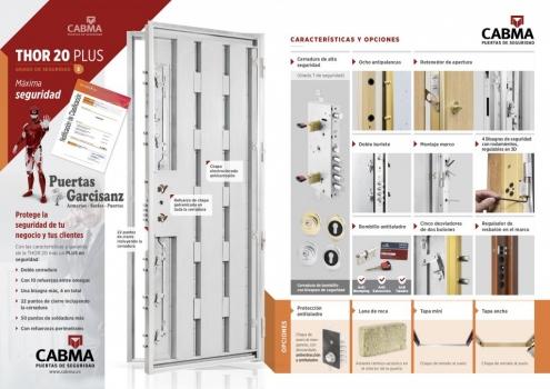 Nuevo catálogo, características y acabados Puerta Acorazada Thor 20 Plus grado 3 Cabma en Valladolid