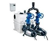 Estaciones de bombeo, aguas residuales para superficie de gran caudal.