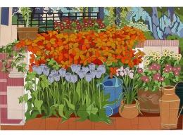 mural,ceramica,azulejo,pintado,mano,flores