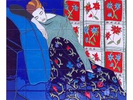 mural,ceramica,azulejo,pintado,mano,decorativo