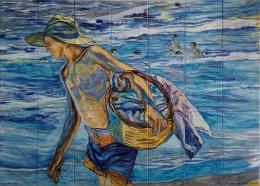 mural,ceramica,azulejo,pintado,mano,decorativo,sorolla