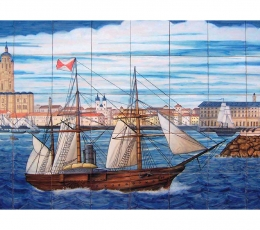 mral,azulejos,ceramica,vistas,mar
