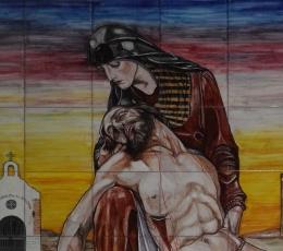 azulejo,mural,ceramica,pintado,mano,cristo,virgen,santo,religioso
