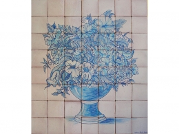 mural,ceramica,azulejo,bodegón,mosaico,flores,azul