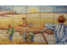 Mural cerámico de azulejos Siega