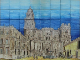 Mural cerámico decorativo de azulejos Catedral de Málaga