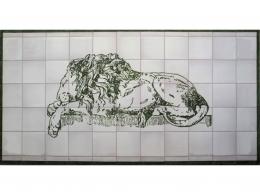 Mural cerámico decorativo de azulejos león
