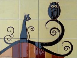 Mural cerámico decorativo de azulejos Gato y Buho