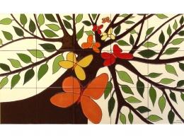 Mural cerámico decorativo de azulejos Mariposas