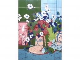 Mural cerámico decorativo flores