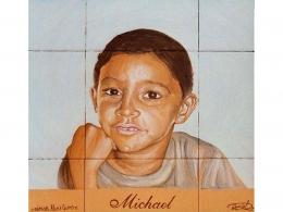 Mural azulejos de cerámica con retrato de niños