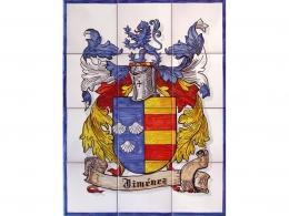Mural azulejos de cerámica con escudos heráldicos
