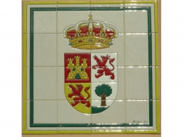Mural azulejos de cerámica con escudo Campillos