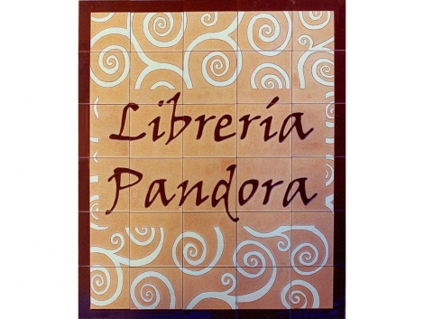 Rótulo de azulejos de cerámica Librería