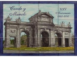 Rótulo conmemorativo de azulejos de cerámica  aniversario