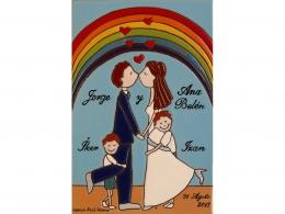 Placa de cerámica recuerdo de boda