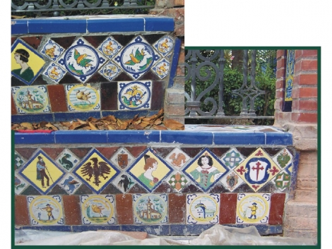 Restauración y sustitución de azulejos de ceramica Parque Banco Glorieta del Fiestero