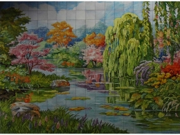 mural,ceramica,azulejo,estanque,pintado,mano