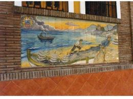 mural,ceramica,pescadores,sacando,copo,playa,redes,decorativo,azulejo,tradicional,rustico,pintadoamano,artesano,muraldeceramica,muralceramico,porencargo,artesania,paisaje,copia,vista