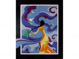 mural,ceramica,decorativo,azulejo,azul,color,mujer,actual,muraldeceramica,muralceramico,porencargo,moderno,arte,copia,tile,ceramic,reproduccion,obras,pintadoamano,artesano