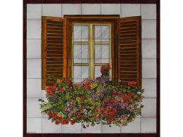 colores,ceramica,decorativo,azulejo,reproduccion,obras,pintadoamano,artesano,muraldeceramica,muralceramico,porencargo,moderno,arte,copia,tile,ceramic,flores,balcon,marron,macetas