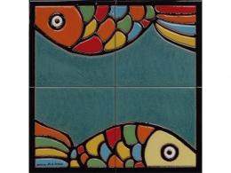 mural,ceramica,azulejo,peces,colores,vivos,mar,decorativo,reproduccion,marino,pintadoamano,artesano,muraldeceramica,muralceramico,porencargo,moderno,original,copia,tile,ceramic