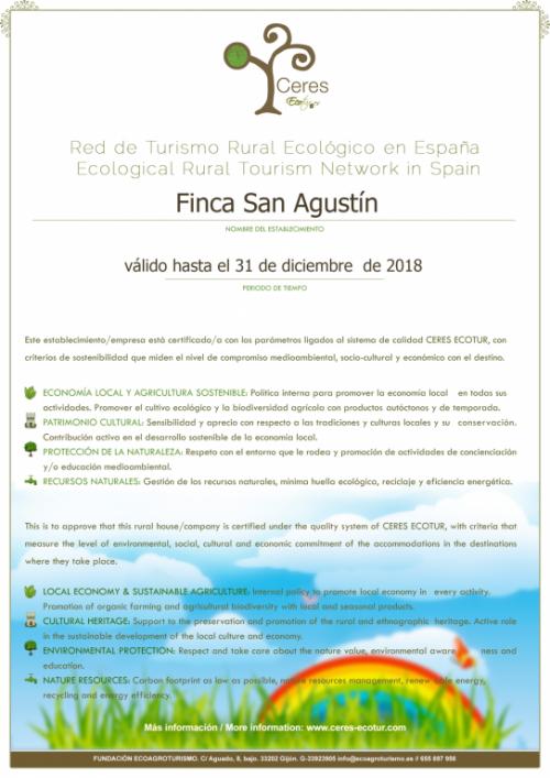 La Finca San Agustín y la Finca Santa Elena, primeros y únicos establecimientos en la Comunidad Valenciana que han obtenido la Certificación de CERES ECOTUR.