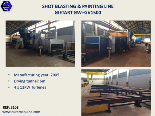 3108 Shot Blasting & Painting Line GIETART GW + GV1500