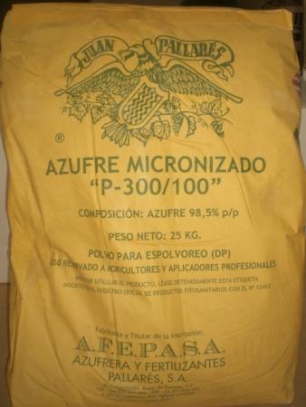 AZUFRE MICRONIZADO P-300/100 (25 Kgr.) - Mínimo 5 Sacos.