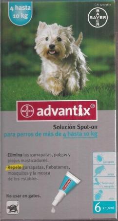 ADVANTIX PERROS DE 4 A 10 KILOS (6 Unid.).