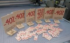 impresión sobre madera y cartón troquelado para OPCO de REBAJAS