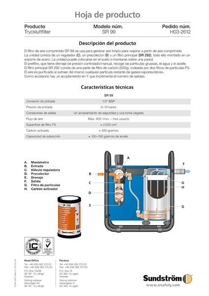 Filtro de aire comprimido SR 99