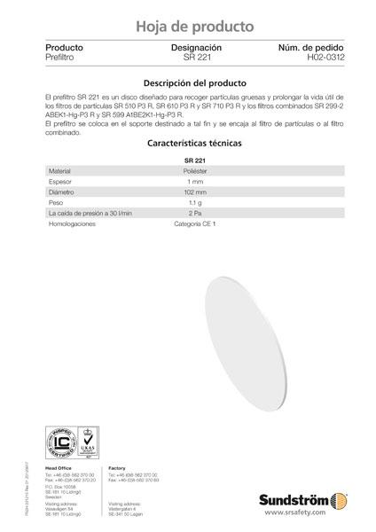 prefiltro SR221