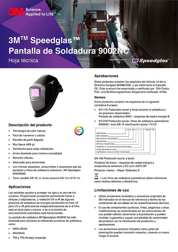 Ficha técnica 3M Speedglas 9002