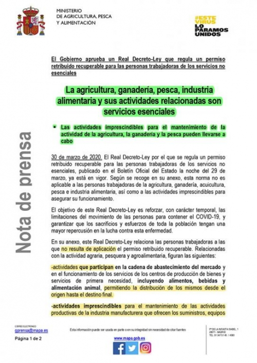 LA GANADERÍA ES UN SERVICIO ESENCIAL (Nota de prensa)